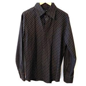 7 Diamonds black striped fit stretch dress shirt